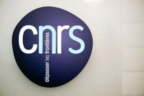 The logo of the French National Centre for Scientific Research (CNRS) in Paris on December 7, 2012