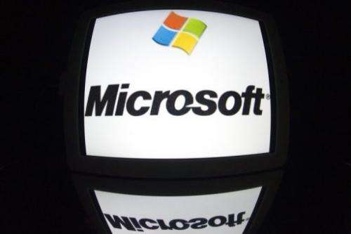 The Microsoft logo seen on a tablet screen on December 4, 2012 in Paris