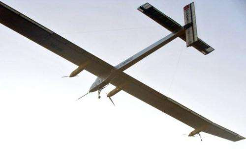 The Solar Impulse piloted by Bertrand Piccard takes off from Rabat airport on July 6, 2012