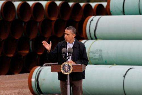 US President Barack Obama speaks at the southern site of the Keystone XL pipeline on March 22, 2012 in Cushing, Oklahoma