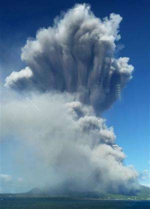 Volcanic eruption coats Japanese city with ash