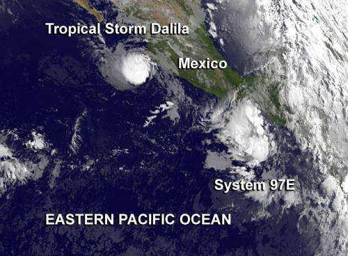 NASA sees tropical storm dalila weaken, new low pressure area form