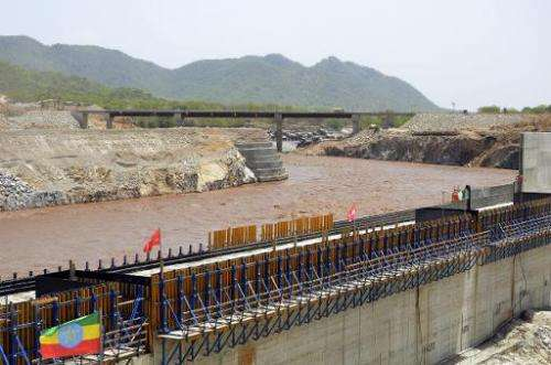 A picture taken on May 28, 2013 shows a dam on the Blue Nile in Ethiopia, where heavy investments are being made in green energy