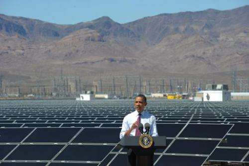 US President Barack Obama speaks on his energy policies following a tour of the Copper Mountain Solar Project in Boulder City, N