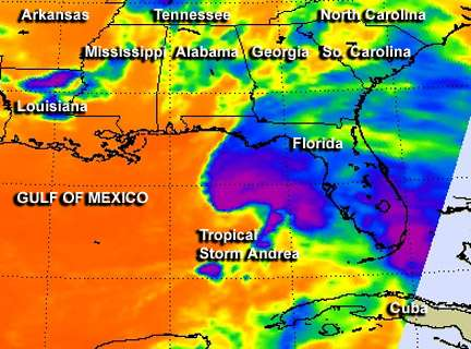 NASA satellite reveals Tropical Storm Andrea's towering thunderstorms