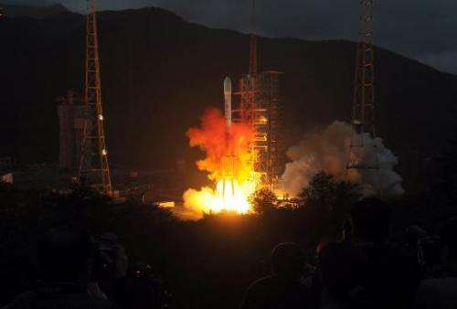 This file photo shows a rocket being blasted off from the launch centre in Xichang, China's southwestern province of Sichuan, on
