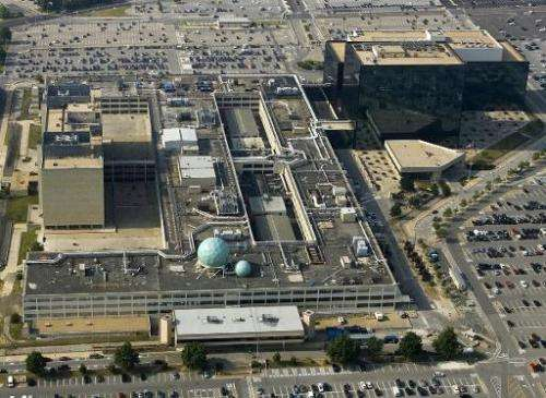 An aerial photo of the National Security Agency (NSA) in Fort Meade, Maryland on May 31, 2006