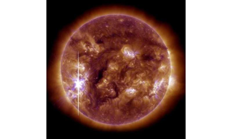 An image released on November 5, 2013, shows the sun brightening when an X-class solar flare —bursts from a large, active sunspo