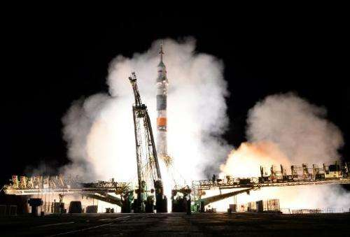 A Russian Soyuz-FG rocket blasts off from the Baikonur cosmodrome in Kazakhstan early on September 26, 2013
