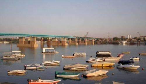 Boats of the Blue Nile Sailing Club float on the river in Khartoum on March 10, 2007