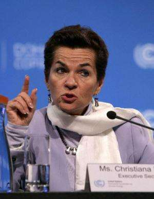 Christiana Figueres, the Chief Executive of the UN Convention on Climate Change, speaks at the UN Climate Change Conference in D