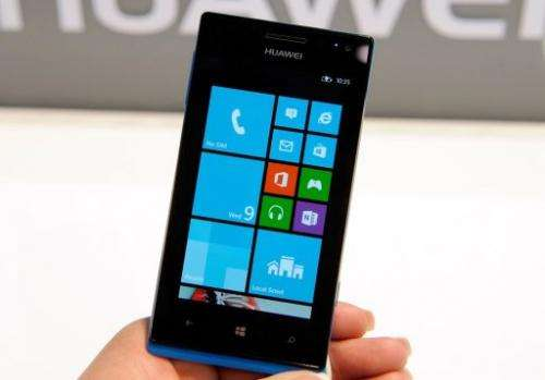 Huawei's Ascend W1 smartphone with Windows 8 is on display on January 9, 2013 in Las Vegas, Nevada