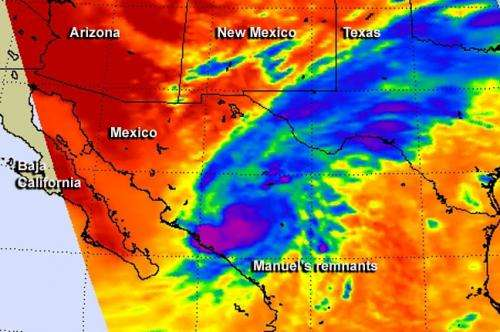 NASA sees remnants of Hurricane Manuel soaking northern Mexico, Texas