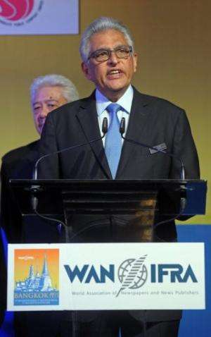 President of the WAN-IFRA, Jacob Mathew, speaks in Bangkok, on June 2, 2013