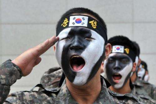 South Korean soldiers are pictured during an anti-terror drill in Incheon, on June 13, 2013