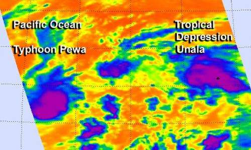 NASA sees Tropical Storm Unala develop and weaken quickly