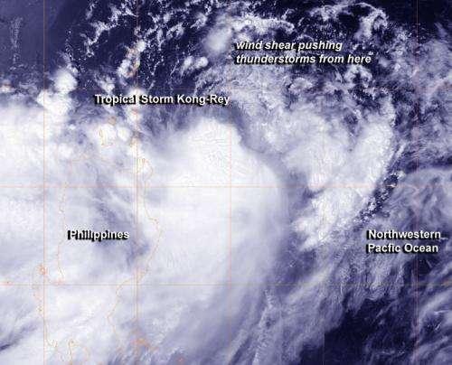NASA sees Tropical Storm Kong-Rey battling wind shear