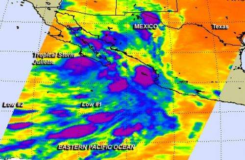 NASA sees Tropical Storm Juliette waning near Mexico's Baja California