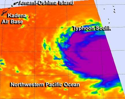 NASA satellites see strong thunderstorms surround Typhoon Soulik's center