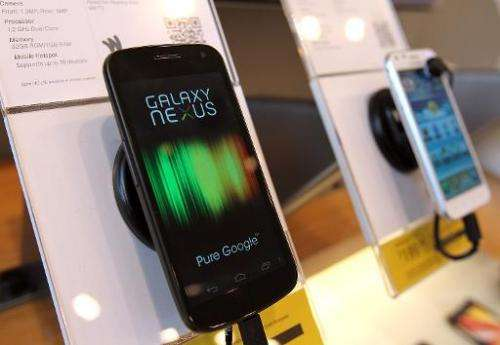 A Samsung Galaxy Nexus phone is seen on display at a Sprint store on April 27, 2012 in San Francisco, California