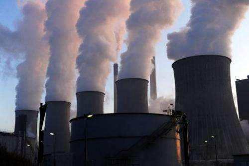 Cooling towers at the Scholven coal-fired power plant in Gelsenkirchen, western Germany, on January 16, 2012