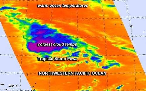 NASA infrared imagery indicates Pewa weakened