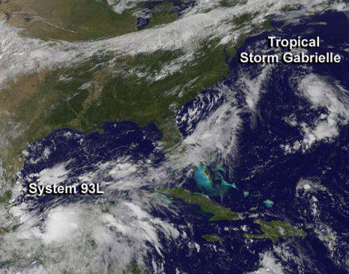 Satellite sees Tropical Storm Gabrielle battling wind shear, gulf storm developing