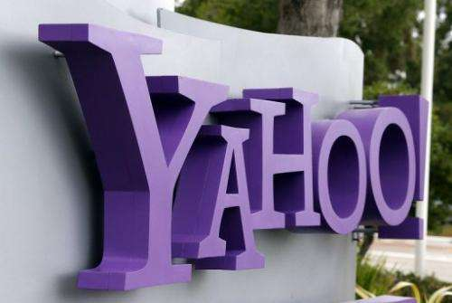 The Yahoo! logo is displayed in front of Yahoo! headqarters in Sunnyvale, California on July 17, 2012