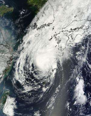 NASA satellite sees Tropical Storm Toraji's concentrated center approaching Japan