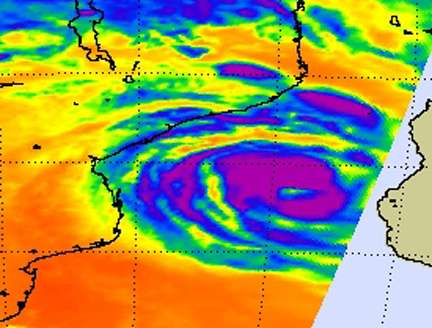 3 NASA satellites see wide-eyed Cyclone Haruna