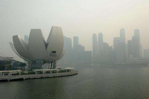 A general view of Singapore skyline, shrouded by haze, on June 20, 2013