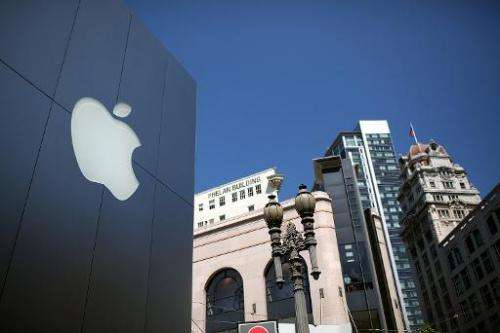 The Apple logo is pictured outside an Apple store in San Francisco, California on April 24, 2012