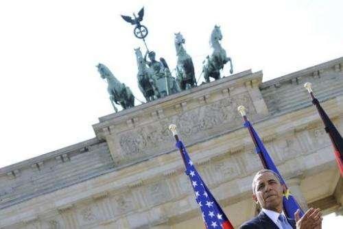 US President Barack Obama speaks at the Brandenburg Gate on June 19, 2013 in Berlin
