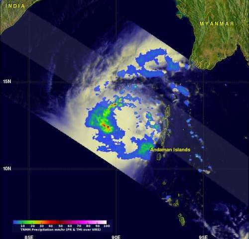 NASA satellite tracks Tropical Cyclone Lehar moving toward India