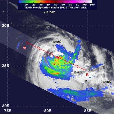 NASA satellite sees Cyclone Gino's rainfall shoved southward