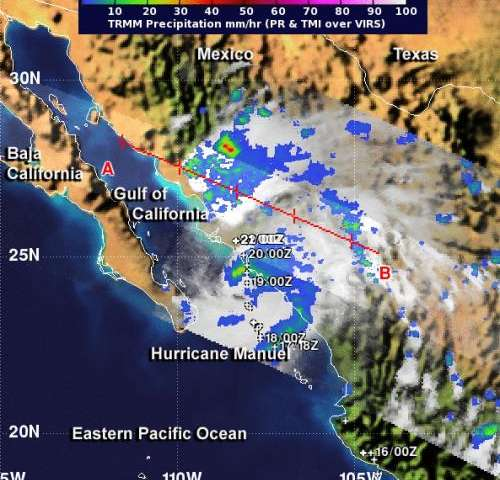 NASA sees heavy rains and hot towers in Hurricane Manuel