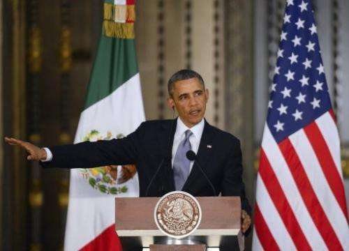US President Barack Obama speaks during a press conference in Mexico City, May 2, 2013