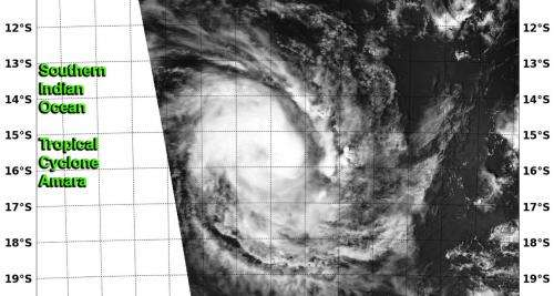 NASA satellites get double coverage on newborn Tropical Cyclone Amara