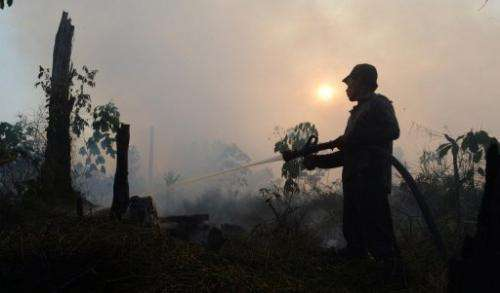 An Indonesian worker extinguishes a forest fire in Riau province, on June 29, 2013