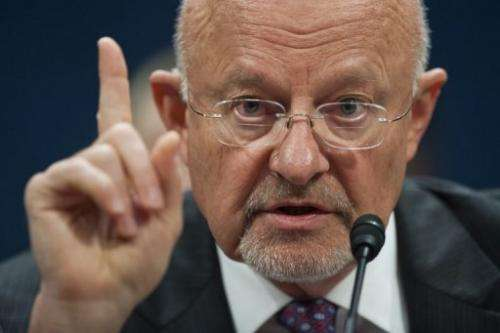 US intelligence director James Clapper testifies on Capitol Hill in Washington, DC, on April 11, 2013