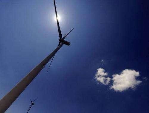 Wind turbines in Alaiz, Navarra province, on July 8, 2013