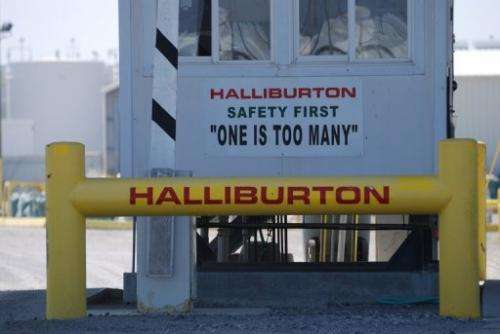 File picture shows a Halliburton facility in Port Fourchon, Louisiana