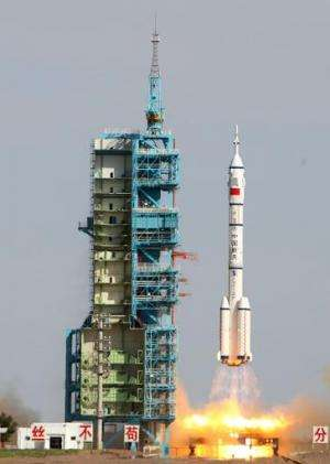 Image taken on June 11, 2013 shows the Shenzhou-10 rocket blasting off from the Jiuquan space centre in China