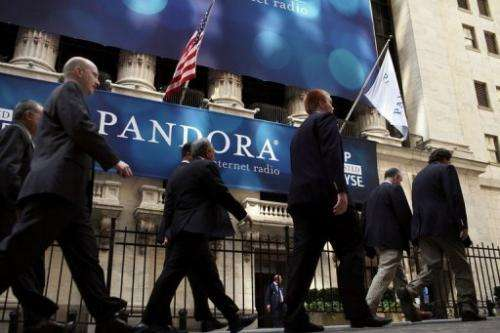 A banner for Pandora Media Inc., the online-radio company, hangs in front of the New York Stock Exchange