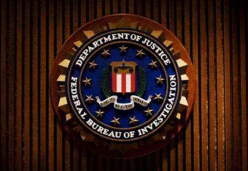 A crest of the FBI is seen inside the J. Edgar Hoover FBI Building in Washington, DC, on August 3, 2007