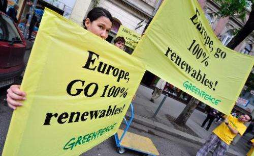 Activists and environmentalists protest for renewable energy in front of the hotel in Budapest on May 2, 2011