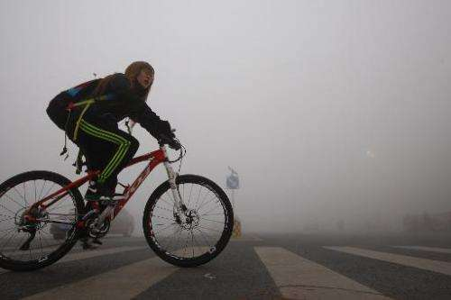 A girl cycles on a street under heavy smog in Harbin, China's Heilongjiang province, on October 21, 2013