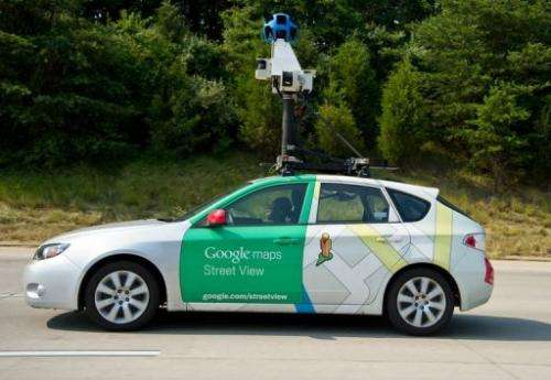 A Google Street View vehicle collects imagery while driving near Centreville, Virginia on June 28, 2012