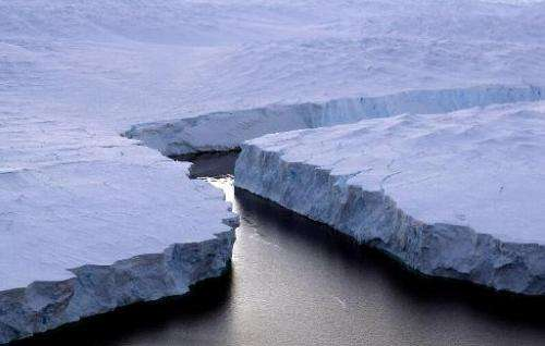 A huge iceberg breaks up off the Knox Coast in the Australian Antarctic Territory, pictured January 11, 2013