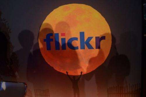 A logo for the Flickr website in New York, May 20, 2013